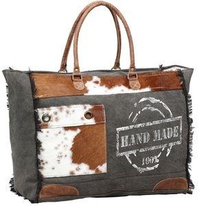 NEW Handmade Canvas & Cow Hide Weekender Bag